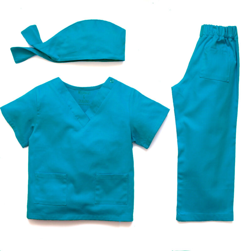 An overview of blue chlidrens scrubs with top trousers and cap
