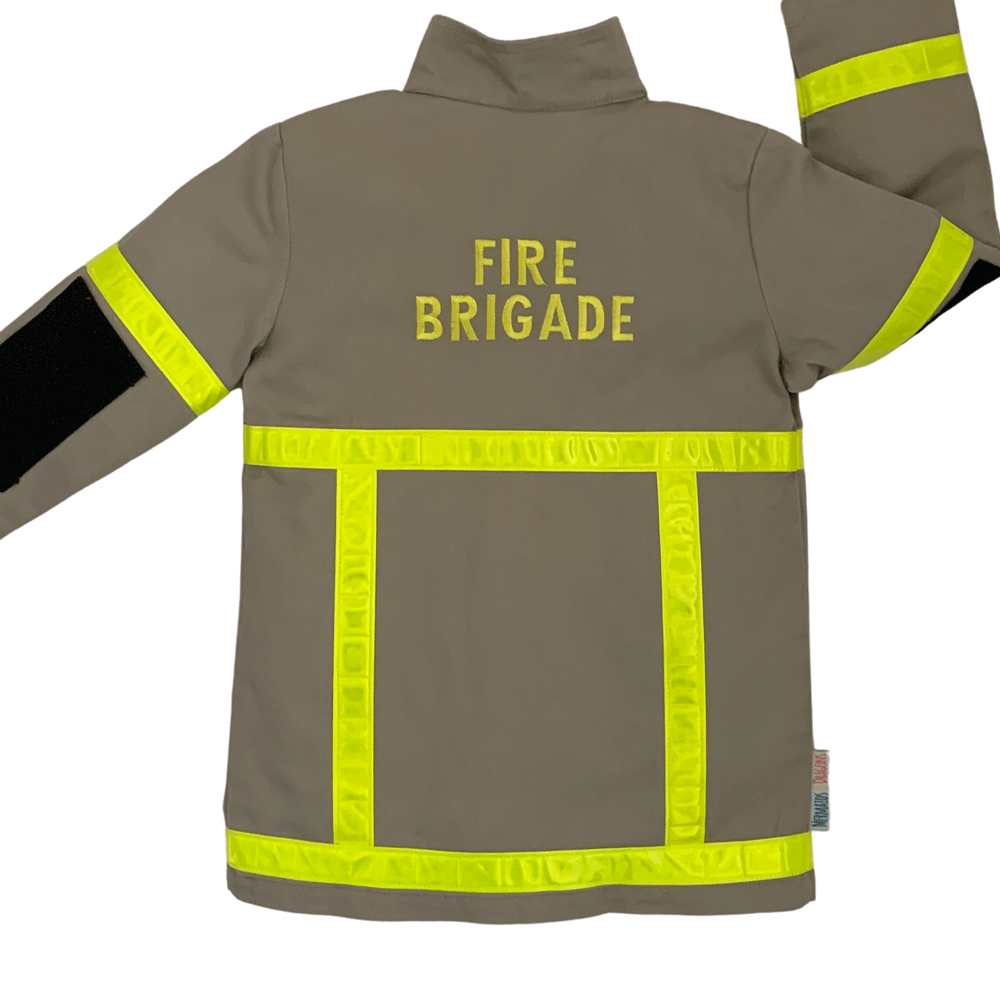 View of back of childrens tan coloured firefighter uniform with Fire Brigade embroidered in yellow