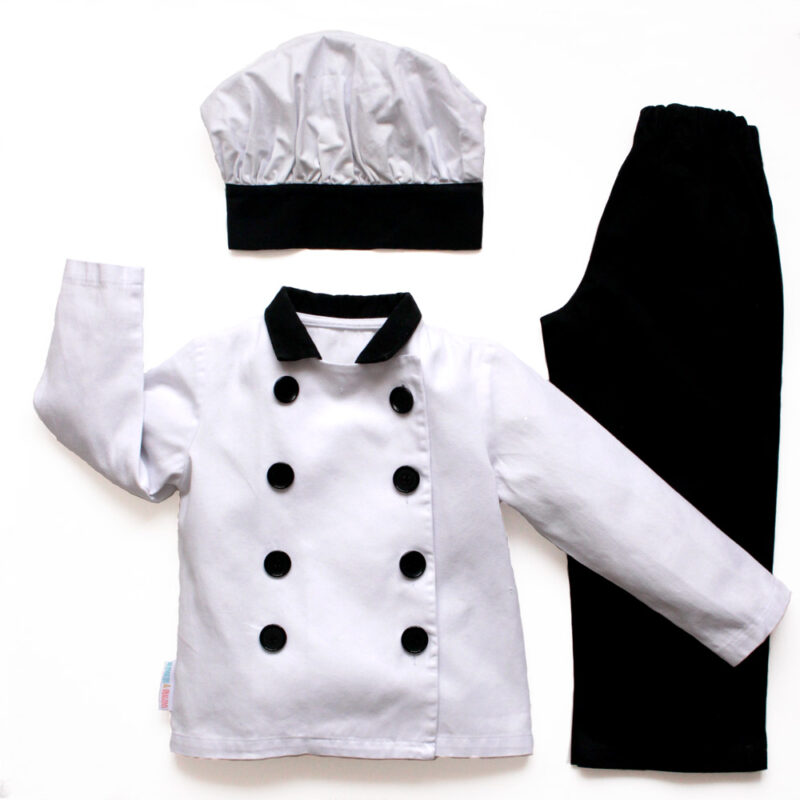 Overview of childrens black and white chef jacket, mushroom cap and trousers