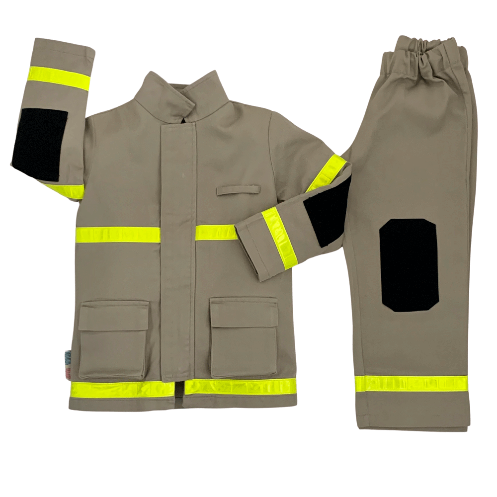 Overview of tan coloured childrens firefighter uniform with hi vis stripes