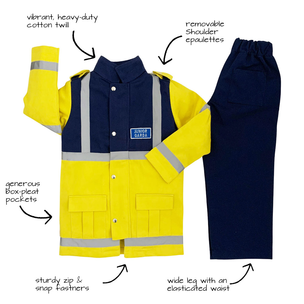 An image of a garda siochana uniform with text details of the features of the uniform