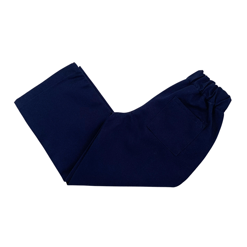 Navy trousers with elasticated waist and wide leg