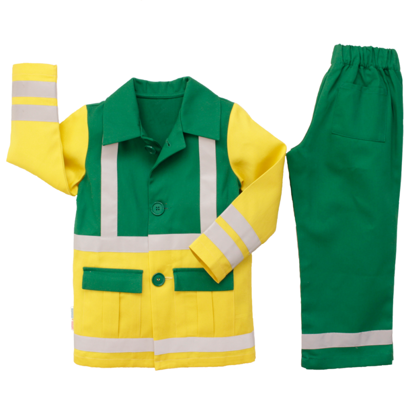 A flatlay of a childs yellow and green paramedic uniform