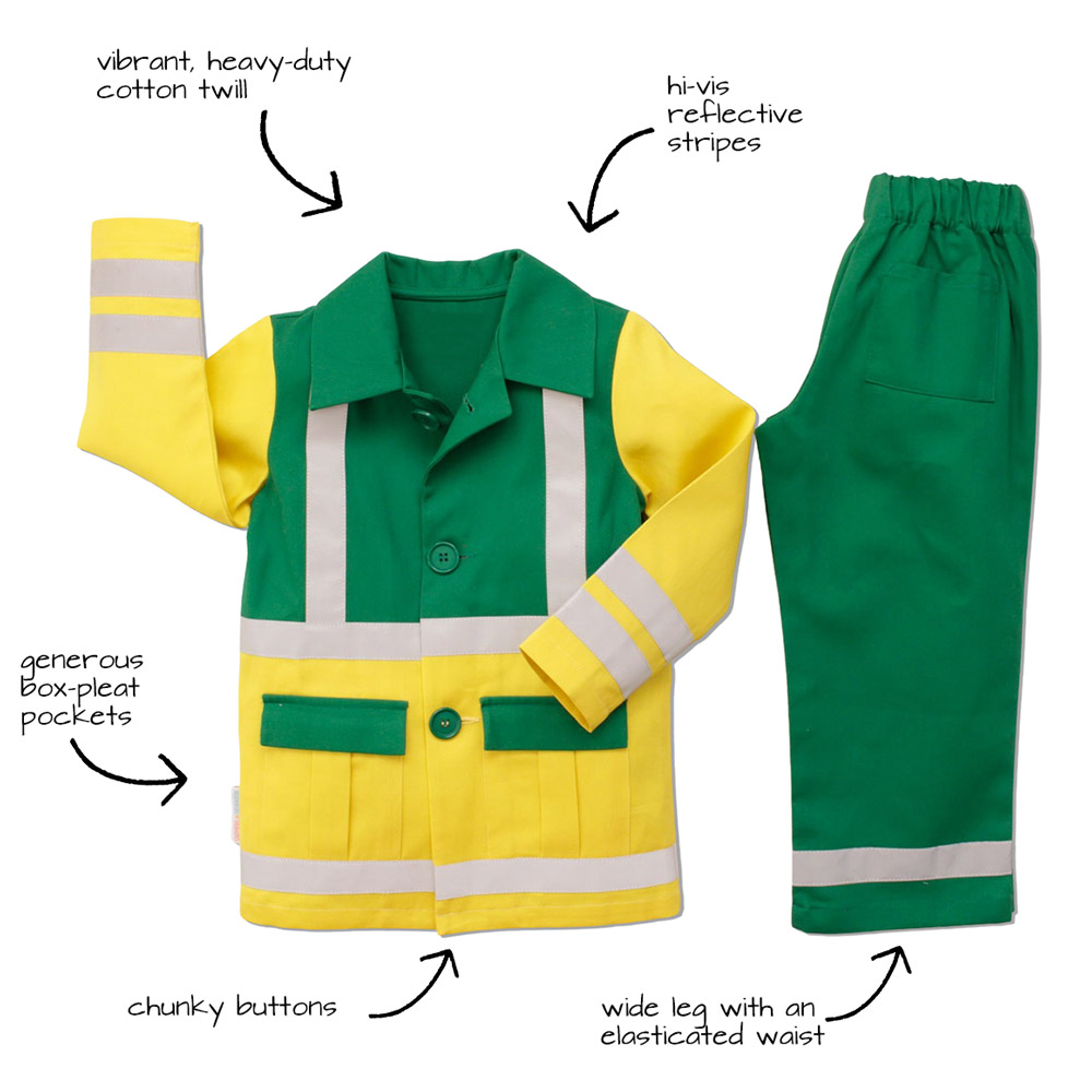 A childrens paramedic uniform in yellow and green with text overlay detaling the features of the uniform