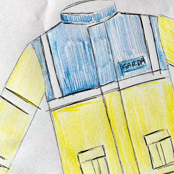 Rough pencil sketch of a Garda costume