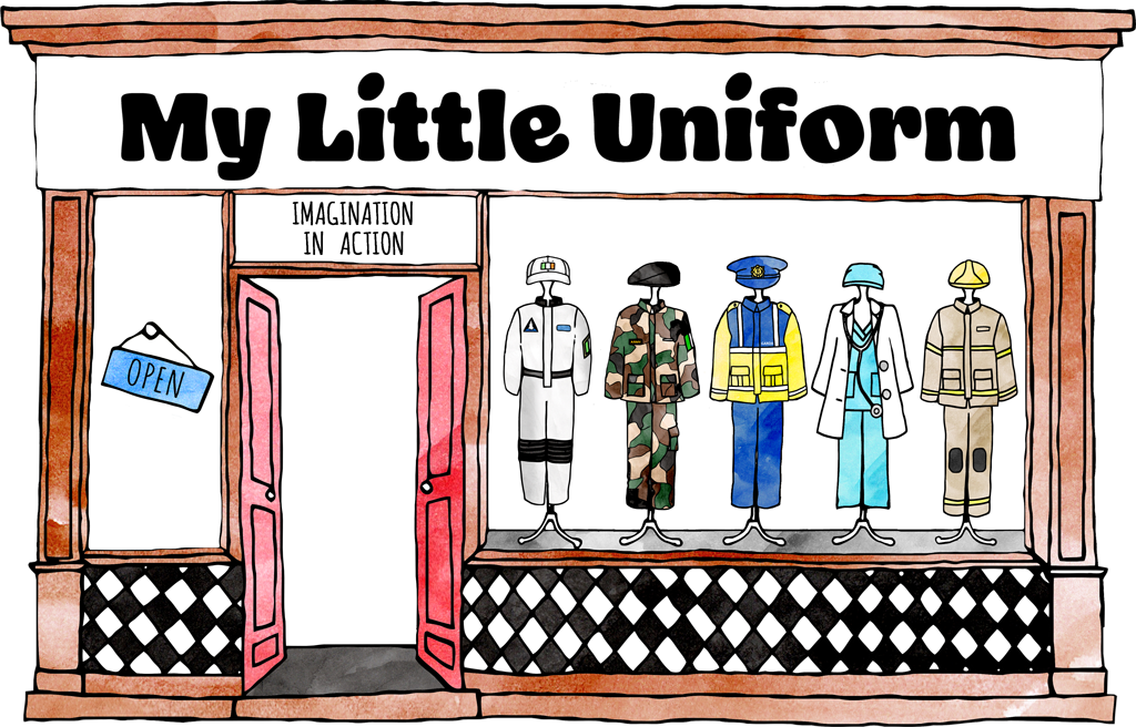 An illustration of a shopfront with a window full of little uniforms